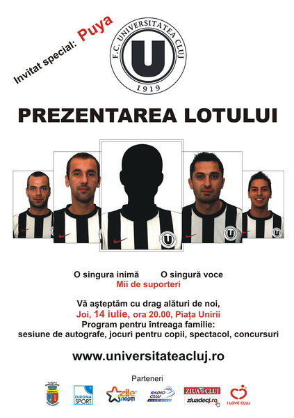Universitatea Cluj isi prezinta lotul oficial