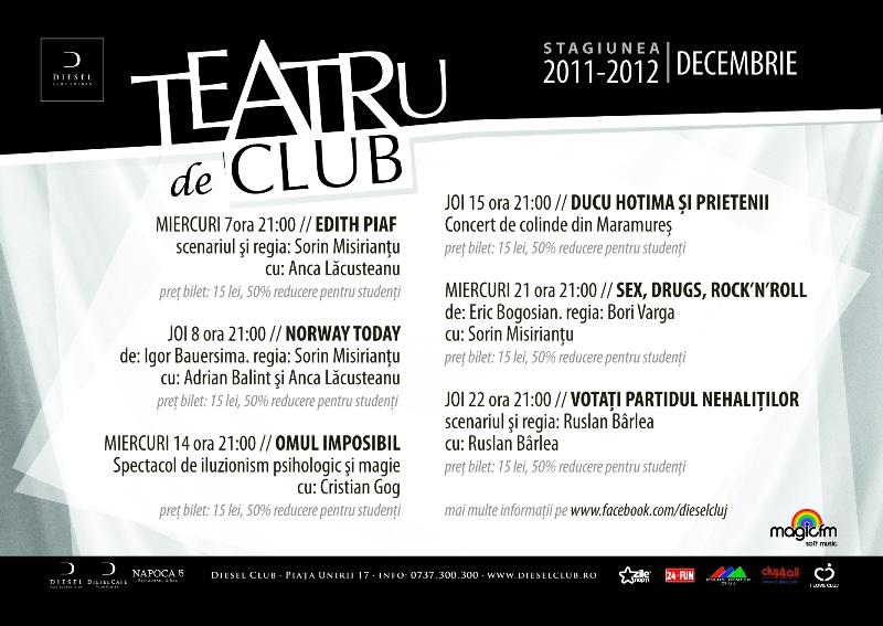 Teatru de Club – stagiunea lunii decembrie