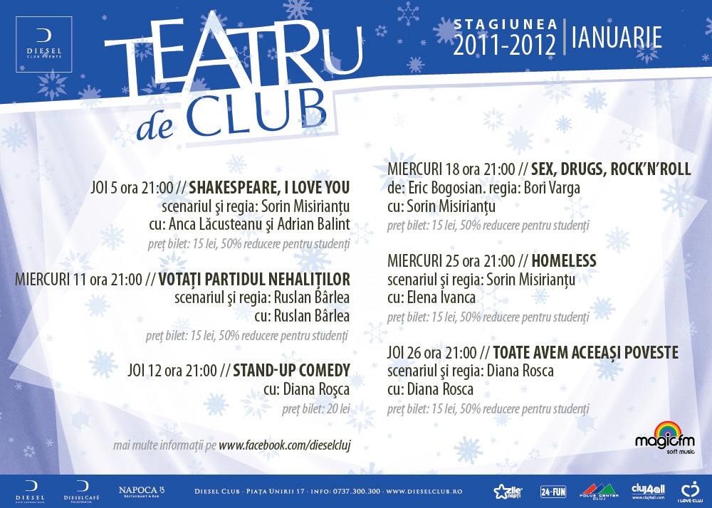 Teatru de Club – stagiunea lunii ianuarie 2012