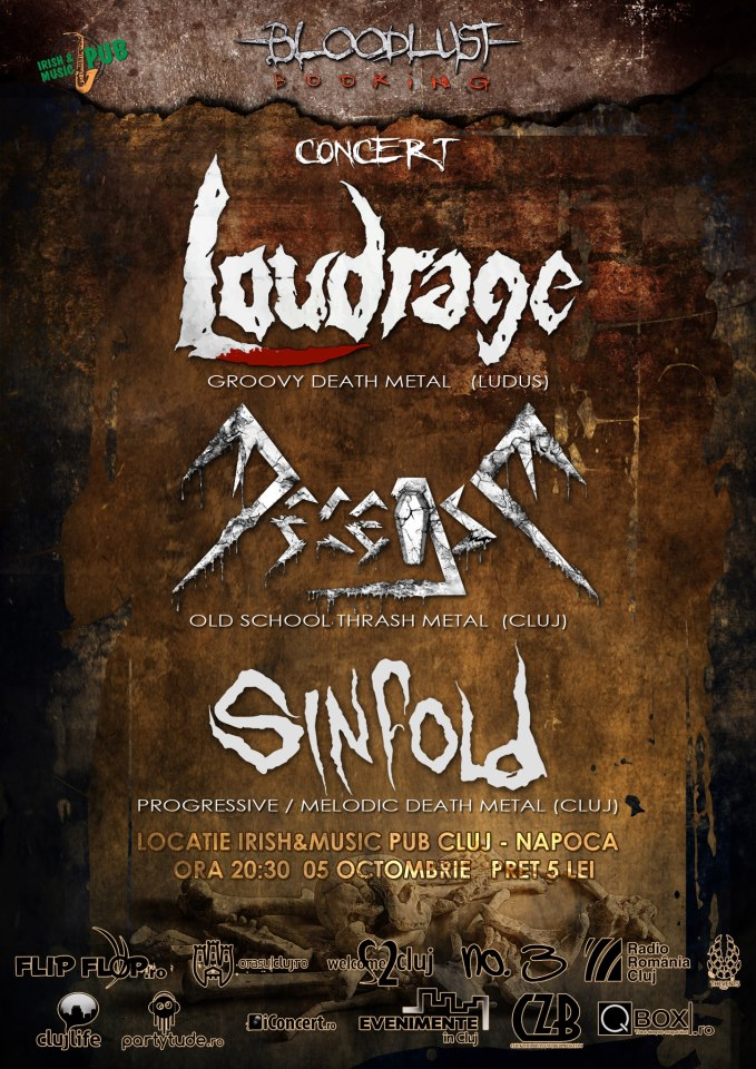 Loudrage, Decease si Sinfold @ Irish & Music Pub