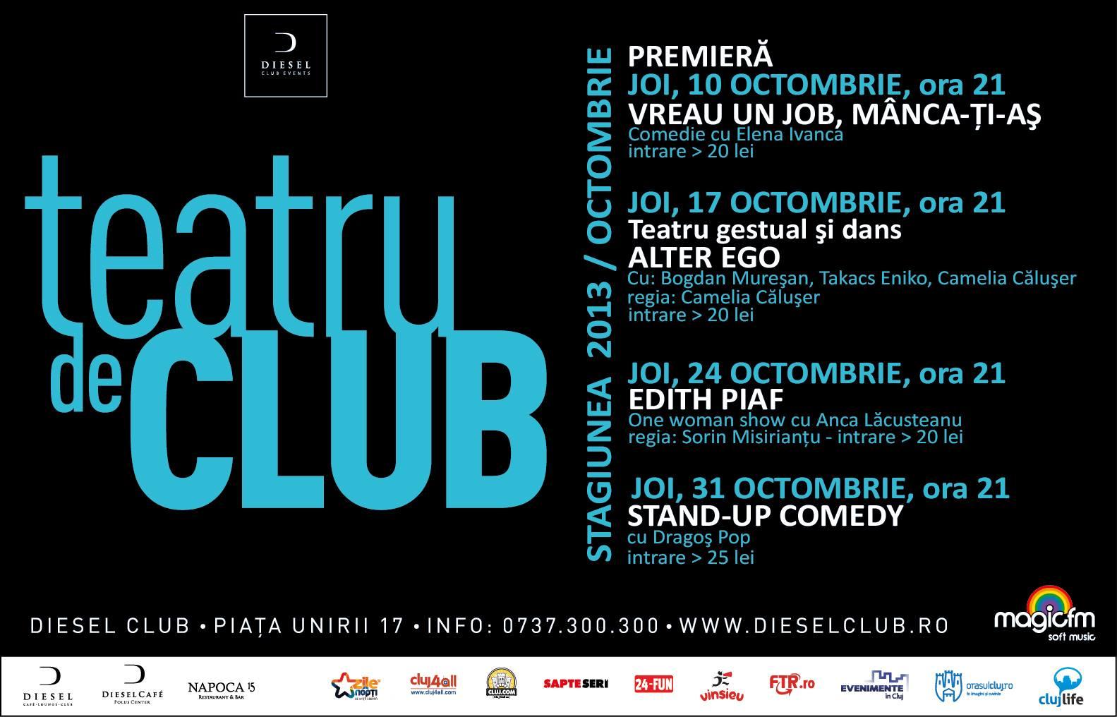 Teatru de Club – Stagiunea lunii octombrie