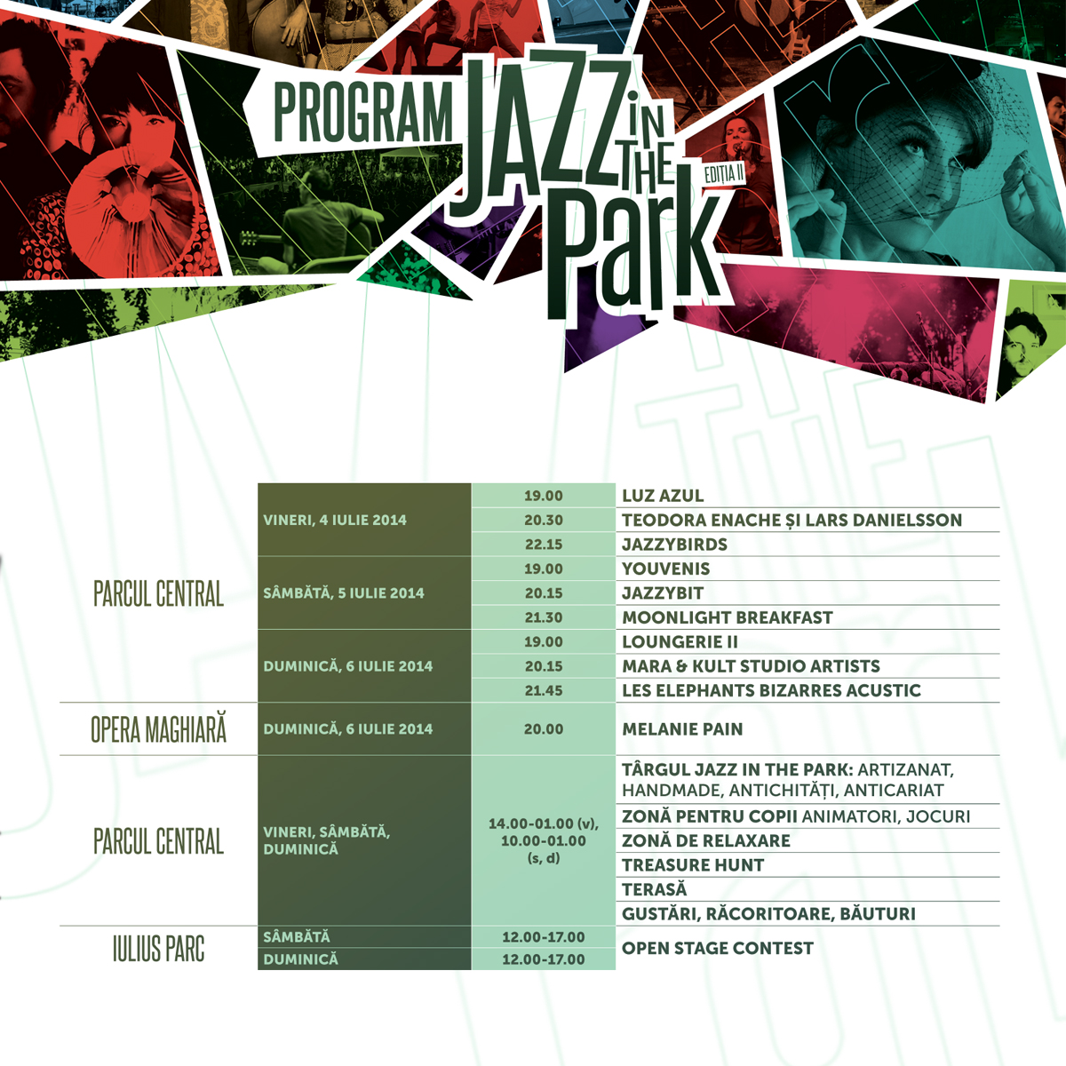 Programul concertelor la Jazz in the Park 2014