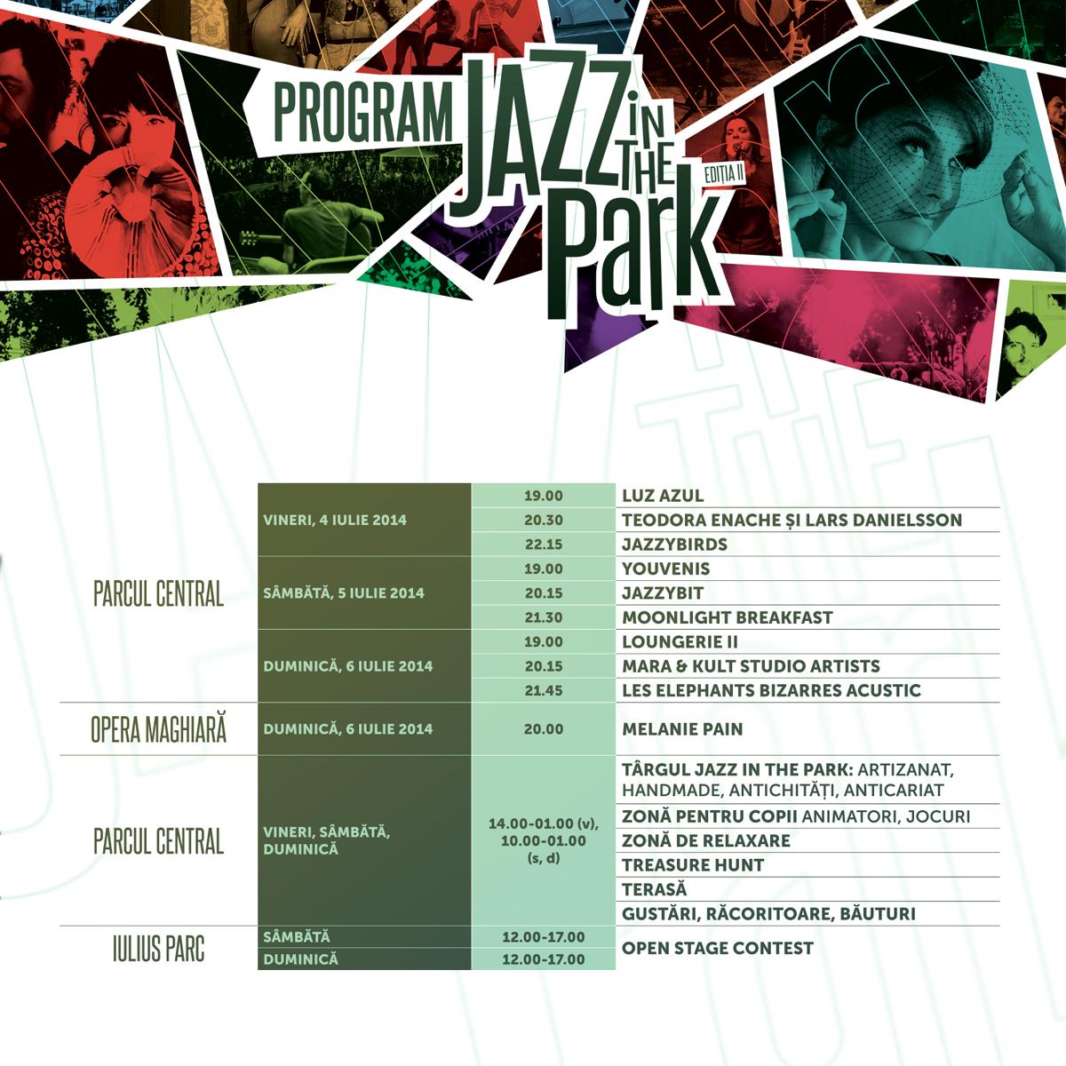 Programul concertelor la Jazz in the Park 2014