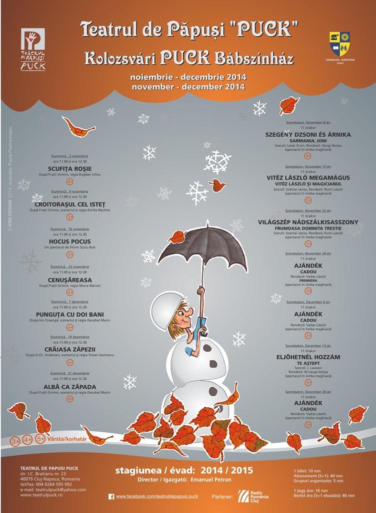 Teatrul de Păpuşi Puck – Spectacolele lunilor noiembrie / decembrie 2014