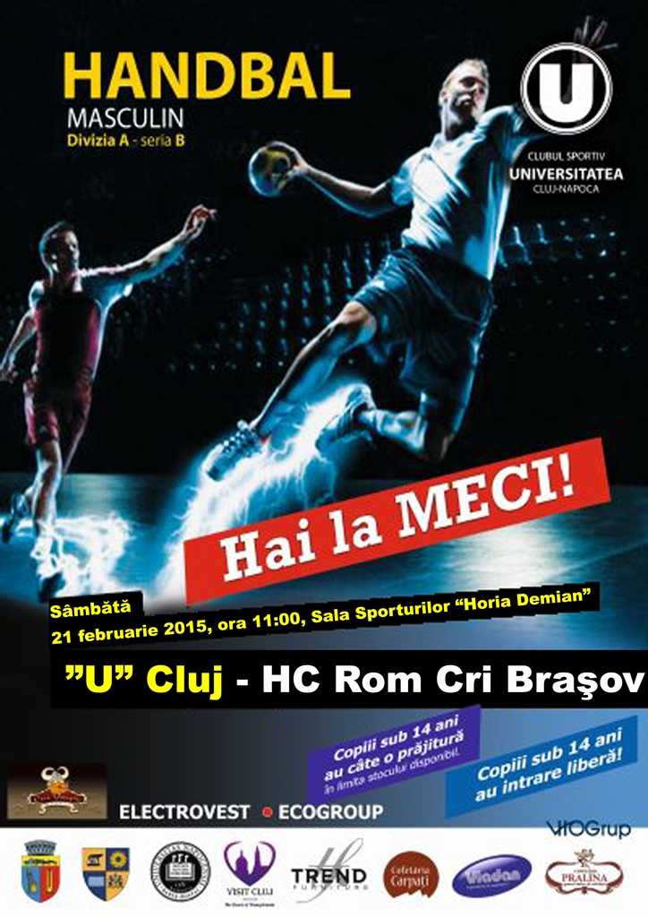 Handbal Masculin: U Cluj – HC Rom Cri Brașov