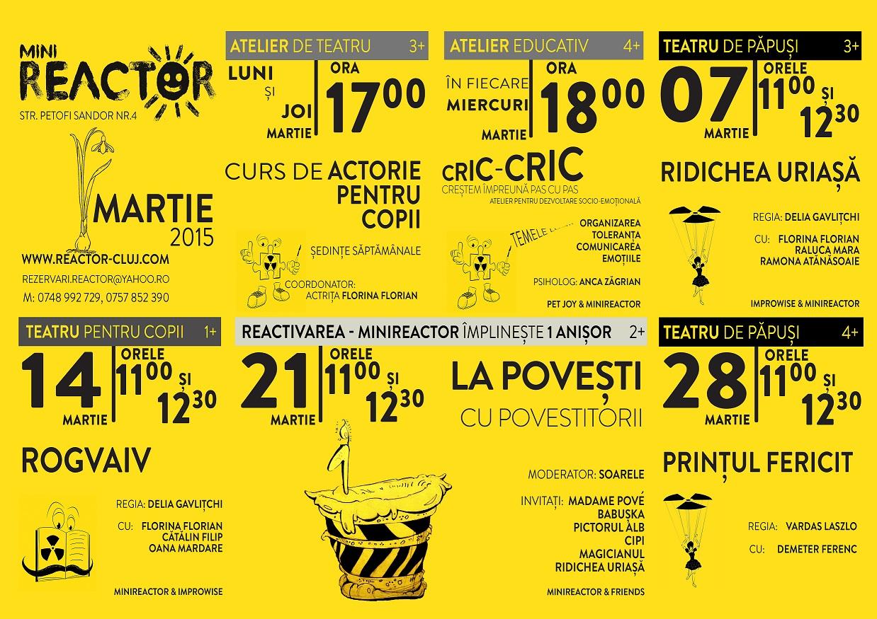 Programul lunii martie la Mini Reactor
