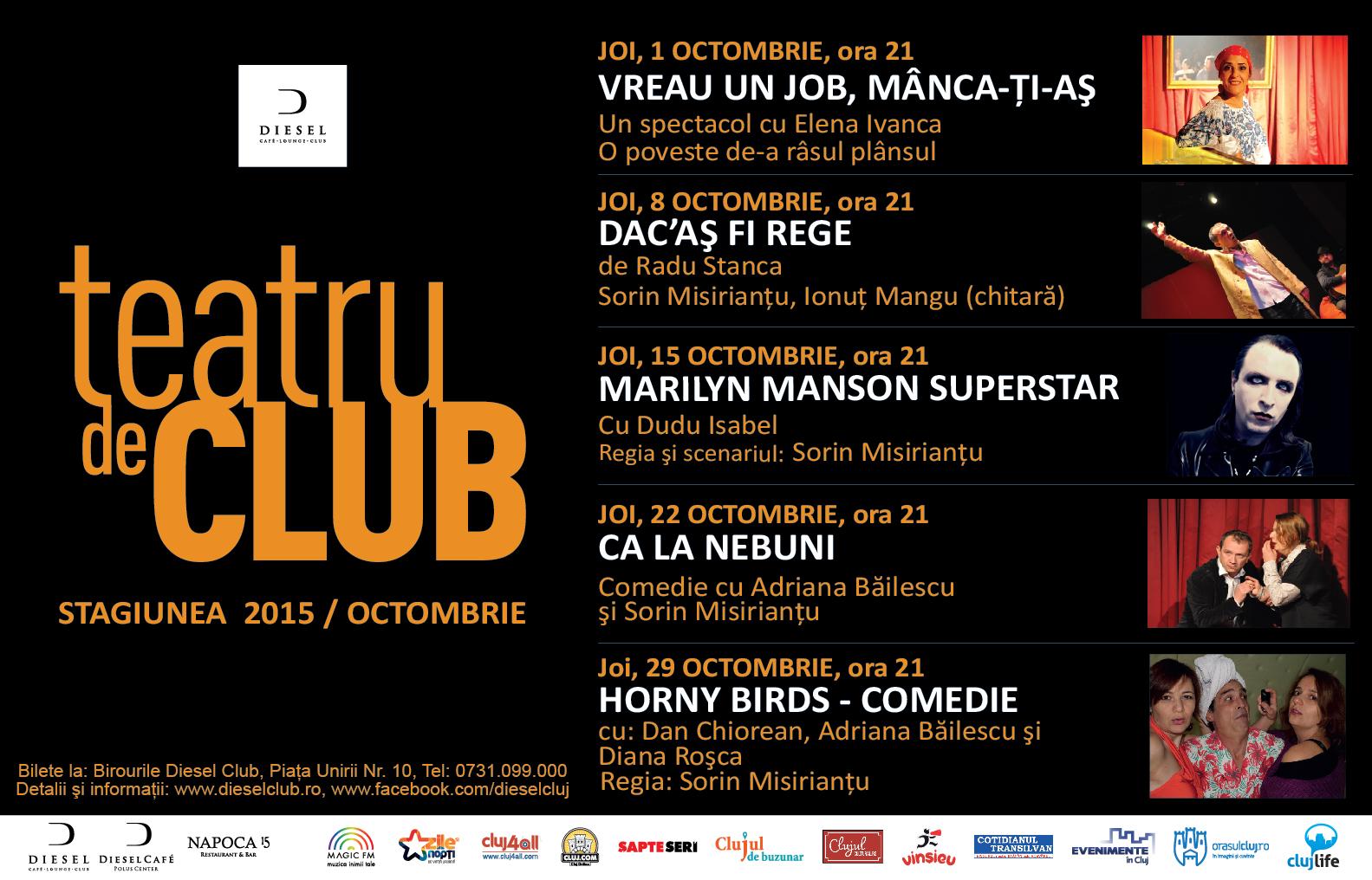 Teatru de club – Stagiunea Octombrie 2015
