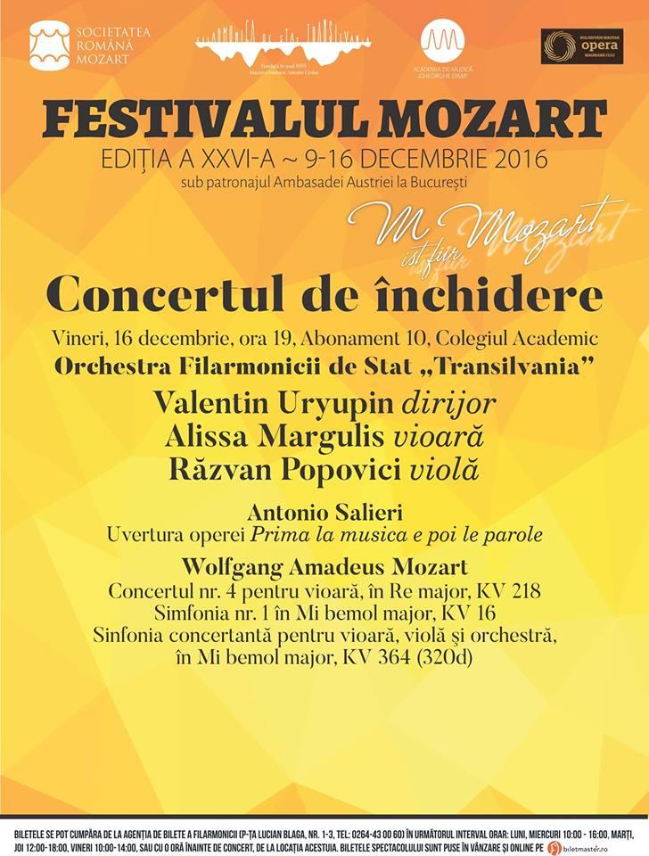 Concertul de închidere a Festivalului Mozart @ Auditorium Maximum