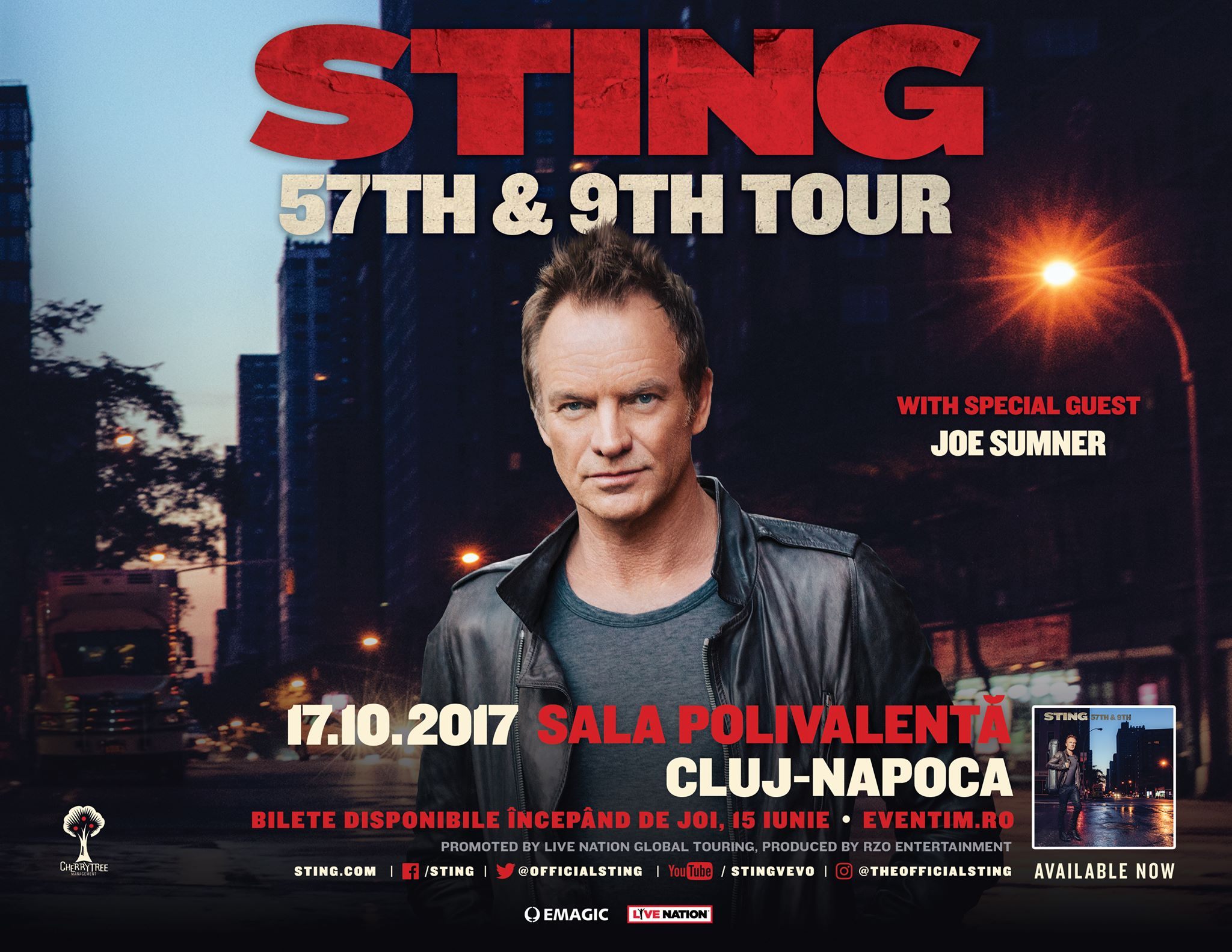 Sting concertează la Sala Polivalentă din Cluj