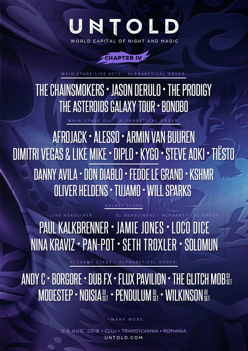 The Chainsmokers, Jason Derulo, Tiesto, Fedde le Grand, Danny Avila și mulți alții, confirmați la Untold 2018