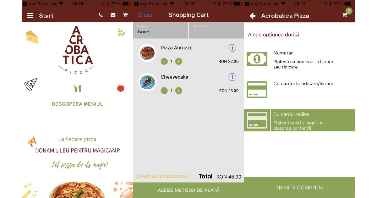 Cât de simplu comanzi de la Acrobatica Pizza prin noua aplicație