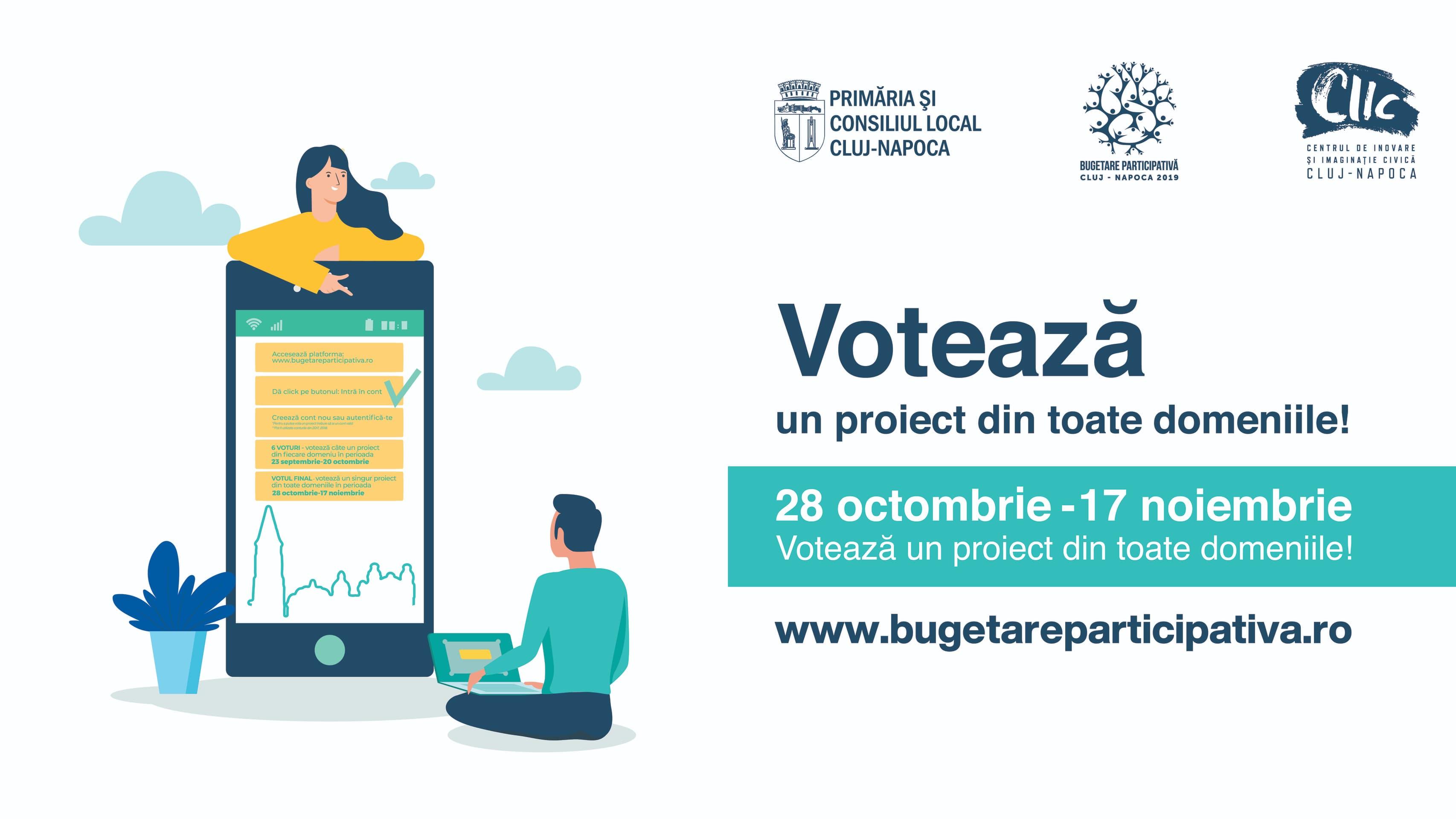 A început votul final în cadrul procesului Bugetare participativă Cluj-Napoca 2019