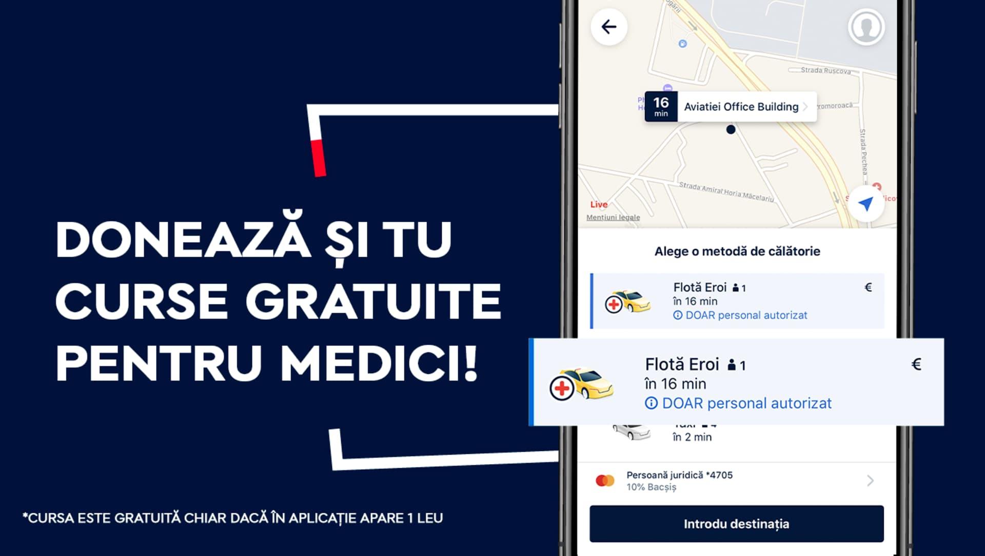 Curse gratuite pentru medicii din Cluj-Napoca prin aplicatia de taxi si ridesharing FREE NOW