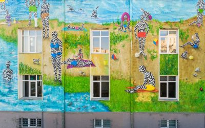 Mural realizat de artiștii Kero și Ocu la Someș Dlivery, realizat cu vopsea care purifică aerul
