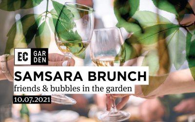 Samsara Brunch. Friends & bubbles in the garden