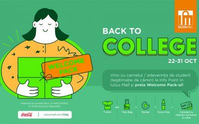 """După cursuri, profită de ofertele de nota 10 din Welcome Pack-ul """"Back to College"""", oferit de Iulius Mall Cluj!"""